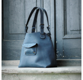 Leather bag Ultimate Edition Alicja color navy blue.