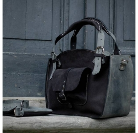 Handmade tote bag with a pocket, a strap and a clutch, matte black and grey natural leather bag