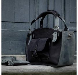 Kuferek ręcznie robiona torba z kieszonką paskiem i kopertówką czarny mat / szary ze skóry naturalnej