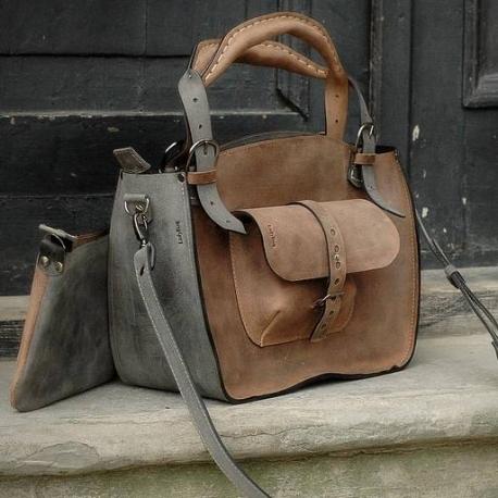 Handgefertigte Kuferek-Tasche mit einer grauen und braunen, handlichen Laptoptasche für jeden Anlass, braun und grau
