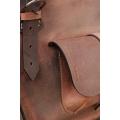 Kuferek skórzany torba ręcznie robiona z kieszonką paskiem i kopertówką rudy / brąz