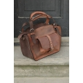 Kuferek bag handmade out of high quality materials natural leather ginger and brown coloured leather