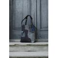 Lena torba na laptopa unikalna skórzana ręcznie robiona torebka od ladybuq art w kolorze czarnym i szarym
