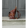 Backpack/bag in beautiful colours made out of fully natural leather by Ladybuq Art Studio