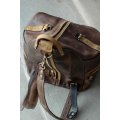 Backpack/bag in Brown colour with Whiskey accents unique handmade natural leather backpack