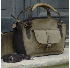 Natural leather tote bag with a pocket, a strap and a clutch, khaki/black