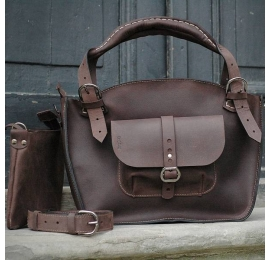 Oversize tote bag purse with a pocket, a strap and a clutch, chocolate brown natural leather