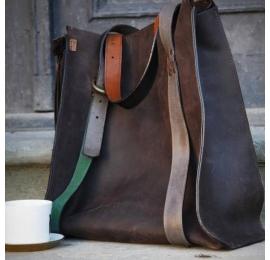 Big Lili chocolate, big oversize natural leather bag