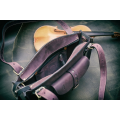 Bag in Plum and Grey colour with zippered closure and exterior pocket made by Ladybuq
