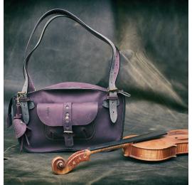Original leather bag Kuferek Ultimate Edition series mini Plum and grey colour made by Ladybuq Art