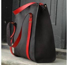 Large leather bag Big Lili in Black color with Red accents made by Ladybuq Art