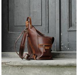 Plecak/torebka w pięknych kolorach wykonany w całości z naturalnej skóry przez Ladybuq Art Studio