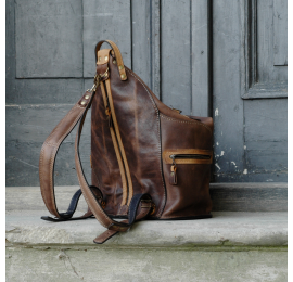 Backpack/bag made out of finest natural leather by Ladybuq Art Studio