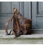 Plecak/torebka w kolorze Brązowym z akcentami w kolorze Whiskey unikalny plecak od Ladybuq Art Studio