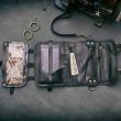 Portefeuille en cuir noir avec poche pour téléphone et longue bandoulière amovible
