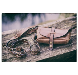 Fanny pack / cross body leather bag Brown size M
