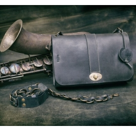 Ella Dark Grey coloured handmade natural leather bag made by ladybuq art studio