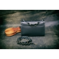 Ella small bag in stylish black colour handmade natural leather bag made by Ladybuq Art Studio