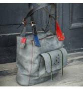 Angela szara z kolorowymi akcentami unikalna torebka od polskich projektantów od Ladybuq Art