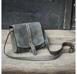 Leather small cross-body bag grey made by Ladybuq