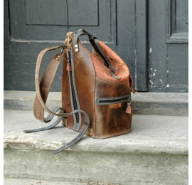 Backpack/Bag in Vintage style Brown and Ginger with Gray accents made by Ladybuq Art Studio