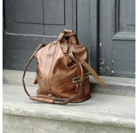 Backpack or Bag in Light Brown colour with Lime accents unique bag made by Ladybuq Art Studio