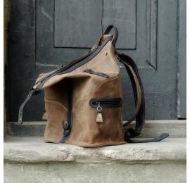 Plecak/Torba w kolorze Brązowym z akcentami w kolorze Granatowym unikalny plecak od Ladybuq Art Studio