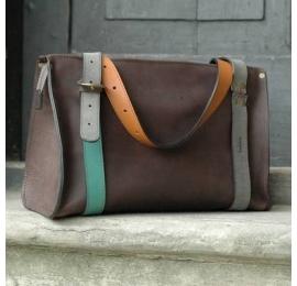 Duża Lili piękna torebka ręcznie robiona skórzana w kolorze czekoladowym od Ladybuq Art