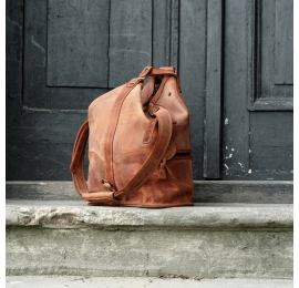 Ladybuq Art travel backpack, weekend bag, summer bag made out of beautiful natural high quality leather