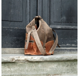 Backpack and bag 2 in 1 vintage style product, multifunctional bag in Dark Beige and Ginger colours