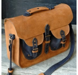 Messenger in whiskey colour handmade unique laptop bag made by Ladybuq Art