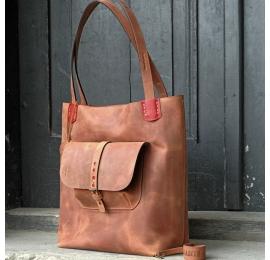 Zuza 2 w kolorze Rudym z kieszonką na zewnątrz, piękna funkcjonalna torba na co dzień od Ladybuq Art