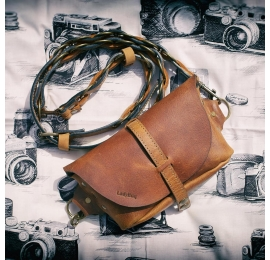 Fanny pack / cross body leather bag Whiskey  Size M