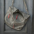 Oversize grey handmade natural leather tote shopper laptop bag made by ladybuq art