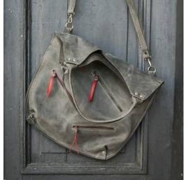 Oversize szary torba na ramię w stylu oversize idealna torba na zakupy lub laptopa