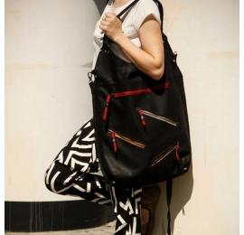 Oversize czarny z akcentami z kolorze malinowym torba ręcznie robiona z naturalnej skóry