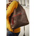 Small Ladybuq bag in brown colour with colourful accents with exterior pocket