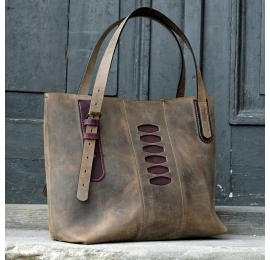 Big summer bag Zuza 3 in Brown colour with Plum accents, vintage bag made by Ladybuq Art