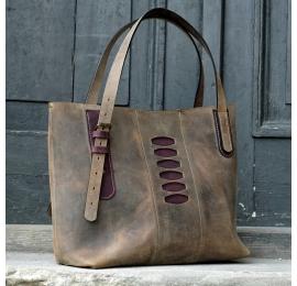 Torba na lato Zuza 3 w kolorze Brązowym unikalna torebka wykonana z pięknej naturalnej skóry wykonana ręcznie przez Ladybuq