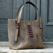 Summer bag Zuza 3 in Brown colour unique bag made by hand out of beautiful, polish, natural leather by Ladybuq Art