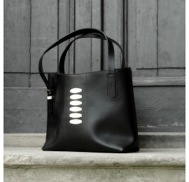 Original summer bag Zuza 3 in Black colour with White accents made out of beautiful natural leather by Ladybuq Art
