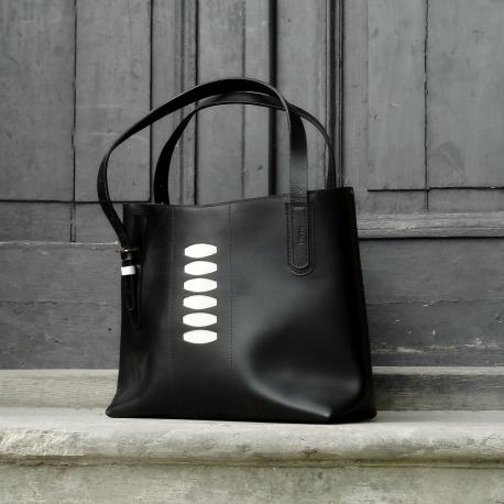 Stylowa skórzana torba w stylu oversize w kolorze Czarnym idealna torebka na laptopa, dokumenty i zakupy