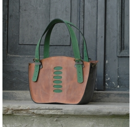 Leather tote bag made by Ladybuq Kuferek bag with a clutch ginger,  grey and green