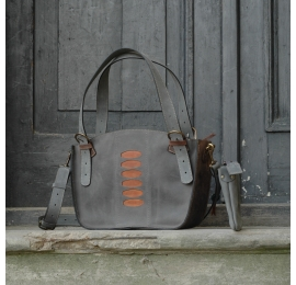 Original leather bag Kuferek with a clutch grey, brown, ginger made by Ladybuq