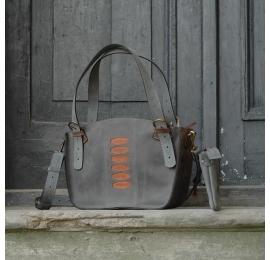 Oryginalna torba skórzana Kuferek z kopertówką szaro, brązowo rudy od Ladybuq Art