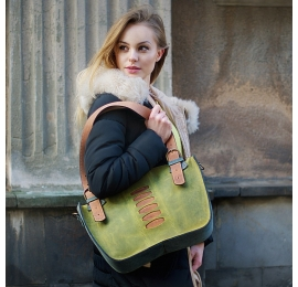 Original leather tote bag Kuferek with a clutch lime, gray, ginger made by Ladybuq