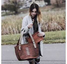 Natural leather unique oversize tote bag with a clutch brick, beige