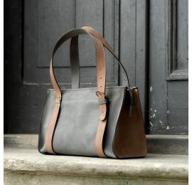 Lili szara i jasno brązowa unikalna ręcznie robiona skórzana torebka na każdą okazję torba na laptopa