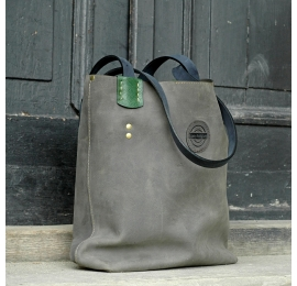 Leather Zuza bag in Grey colour with green Additives and Navy Blue straps made by Ladybuq Art