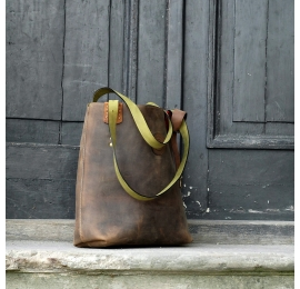 Zuza Brown with colourful additives and lime straps, unique multifunctional, perfect bag for business meeting and shopping